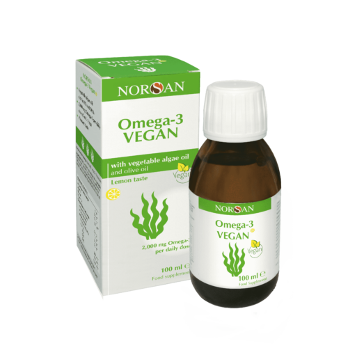 norsan omega-3 vegan bottle and box